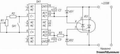 схема регулятора тока сварочного аппарата по первичной обмотке.