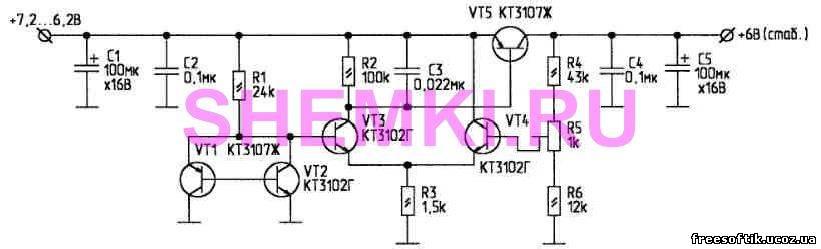 Стабилизатор построен по компенсационной схеме.  С аналога низковольтного стабилитрона на VT1, VT2 опорное напряжение...